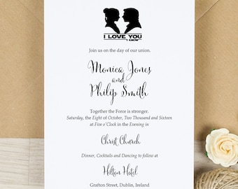 Star Wars Wedding Invitation Set Digital Custom Invitations