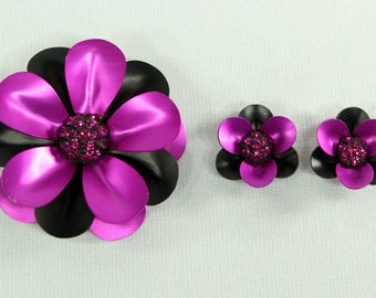 Purple and Black Aluminum and Glass Stones Flower Brooch Set with Clip On Earrings, Lightweight Jewelry, Vintage, Unsigned, Spring & Summer