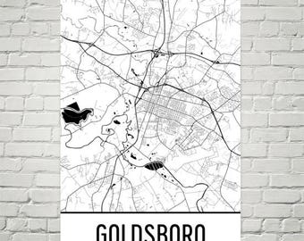 Goldsboro NC Map, Goldsboro Art, Goldsboro Print, Goldsboro Poster, Goldsboro Wall Art, Gift, Map of North Carolina, Carolina Poster, Decor
