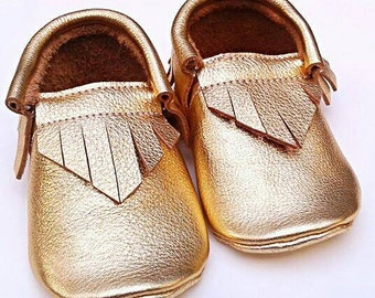 Baby Moccs - Metallic Gold moccs - baby shoes - toddler moccasins - kids shoes - leather shoes - leather moccs - baby booties - baby gift