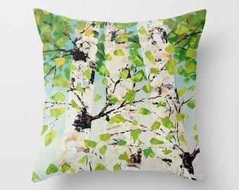 Birch Tree Pillow, Green Pillow, Blue and Yellow Art Pillow, Decorative Pillow Covers, Nature Pillow, Cushions, Throw Pillows, Couch Pillows