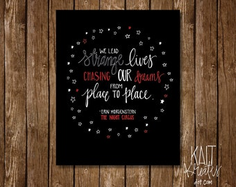 The Night Circus - Chasing Our Dreams Quote - 8 x 10 Digital Print - Instant Download