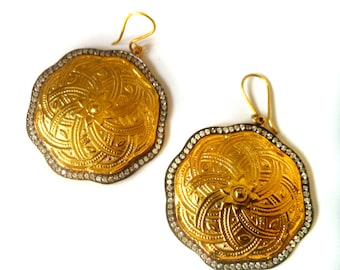 Gold Earrings,chandelier,Turkish medallions,22K Gold plated,Pave setting,Dangle Jewelry by Taneesi