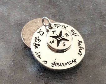 """1 - """"Life is a journey, enjoy the ride"""" compass pendants, stamped pendants, compass necklace, journey jewelry, travel charm"""