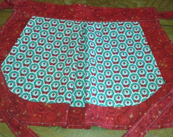 Half Apron, Christmas Half Apron, Cotton Half Apron, Large Pocket Half Apron, Fabric Half Apron, Woman's Half Apron, Decorative Half Apron