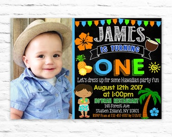 Luau 1st birthday etsy printable first birthday luau boy invitations summer hawaiian hibiscus flower birthday invites with photo 2017 4 filmwisefo