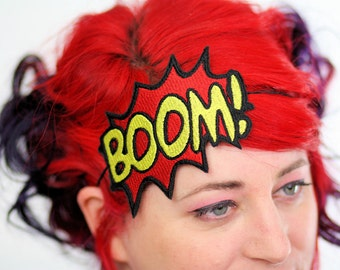 Boom comic headband red and yellow embroidered, Plus Other Colours