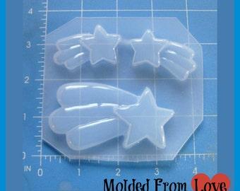Kawaii Shooting Star  and 2 small Shooting stars Flexible Plastic   Resin  Mold
