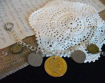 Re-Purposed Bracelet, Vintage Coin Bracelet, Gold and Silver Bracelet, Toggle Bracelet, UpCycled Bracelet, MarjorieMae