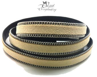 20cm cord flat faux leather suede white case BEIGE chain BRACELET creating 10 x 2.8 mm