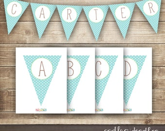 Turquoise & Green Polka Dots Bunting / Pennant Banner / Boy's Baptism / Baby Shower / Create Your Own /  A- Z / INSTANT DOWNLOAD - Printable