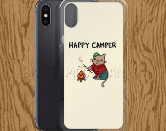 Happy Camper Phone Case Camping Phone Case Lumber Jack Camping Gift Roasted Marshmallow Cat Lover Gift for Cat Lover Lumberjack