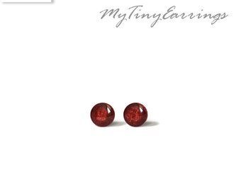 3mm Carmine Stud Earrings Mini Tiny Shimmery - Stainless Steel Gold Plated Posts plus High Quality Epoxy Resin - Moon Line N161