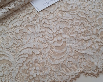 Light powder lace fabric with gold, Powder France Lace, Embroidery lace, Wedding Lace Evening dress lace Lingerie Lace Alencon Lace LL55401