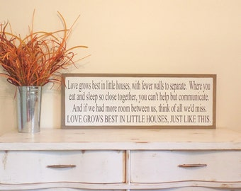 Love Grows Best in Little Houses Wood Sign Inspirational Wall Art Large Wooden Sign Christmas Gift Women Christmas Present