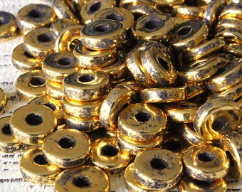 8mm Round Gold Washer Beads - 24K Gold Mykonos Ceramic Beads - Jewelry Making - Antiqued Gold Beads - Choose Your Amount