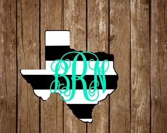 Texas stripe monogram decal // Stripe State monogram decal // State decal // Texas decal // monogram yeti decal // car decal