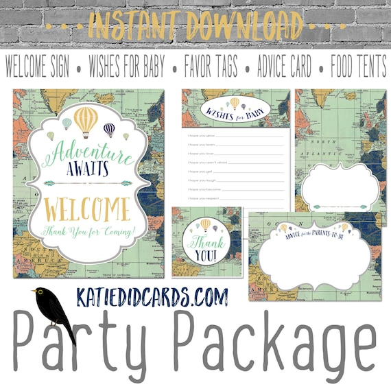 Adventure awaits hot air balloon Travel Theme oh the places you'll go baby shower world map party package gender reveal game | 1466 Katiedid