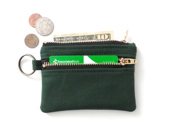 Keychain Wallet Coin Purse Double Zipper Pouch Green Canvas