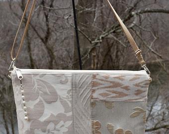 Handmade Fabric Shoulder bag/small/warm golds/creamy taupe/zipper closure/zip pouch/adjustable cross body strap/deocrator brocades /170356