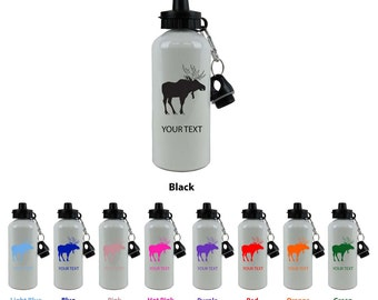 Personalized Custom 20 Oz 600ML Moose White Sport Aluminum Water Bottle with Lid Holiday Gift