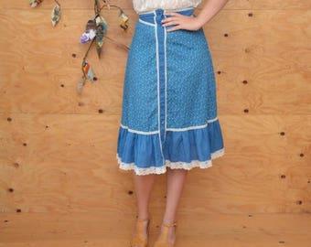 Vintage 70's Gunne Sax Style Skirt Midi In Teal Blue & White Sweet Prairie Style Country Girl SZ XS/S