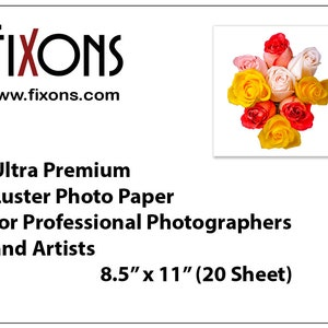 Ultra premium inkjet luster photo paper for professional photographers and artists for Epson printers 8.5 in x 11 in (20 Sheet)