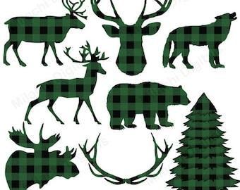 60% OFF SALE Buffalo plaid clipart, lumberjack clipart, vector graphics, animal clipart, digital clip art, commercial use - M446