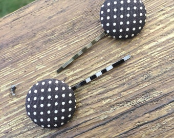 Polka Dot Button Hair Pins, cute, girly, trendy, hipster,feminine,unique, gift for her,daughter,girlfriend,sister, pin-up, vintage inspired
