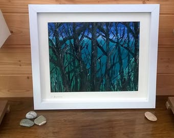 Original Cornish seascape painting - sea through the trees - mounted, framed and ready to hang