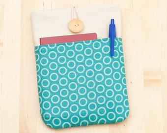 ipad mini sleeve / ipad mini case / ipad mini cover - light blue circles with pockets -