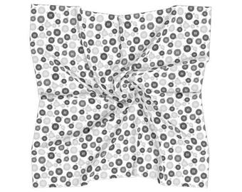 Black and White Buttons Square Scarf - Free shipping USA and Canada