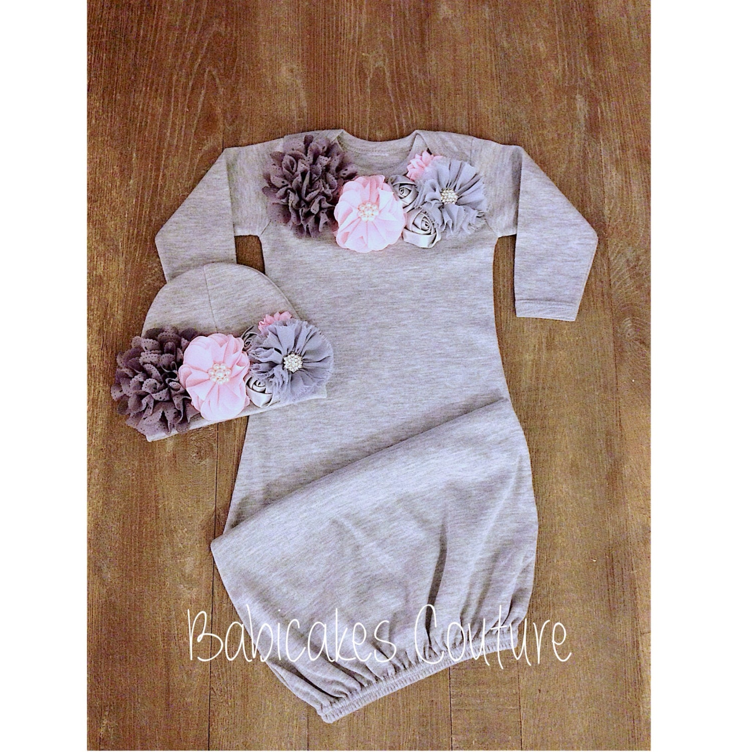 Pink and Gray Baby Gown & Hat Newborn Girl Take Home Outfit