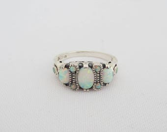 Vintage Sterling Silver Opal Three Stone Ring Size 9