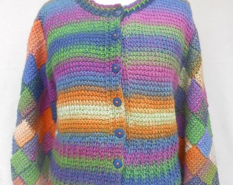 Crochet jacket with Entrelac sleeves