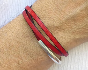 Mens Leather Wrap Bracelet, Red Leather Bracelet, Mens Red Bracelet, Leather Jewelry, Mens Bracelet Cuff, Mens Leather and Silver Bracelet