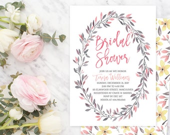 Spring Bridal Shower Invitation, Pink Silver Wreath Bridal Shower Invitation, Floral Bridal Invite, Watercolour Printable Invitation