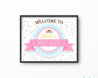 Donut Party Donut Welcome Sign Donut Birthday Party Decor Donut Printable Party Sign Donut Shoppe Donut Shop Poster Personalized DIY