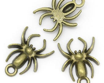 Charm small Spider (x 5) bronze color metal