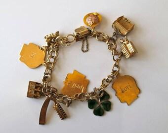 vintage gold charm bracelet - AJC gold filled assorted charm bracelet