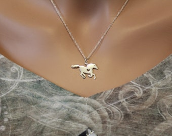 Horse charm necklace etsy sterling silver horse necklace silver horse necklace with heart stallion necklace silver stallion mozeypictures Image collections
