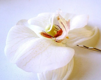 Soft Orchid - White Fabric Orchid Hair Pin with Wine/Burgundy accent, Bridal and Special Occasion Hair Accessory