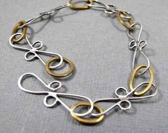 Sterling Siver et Nugold Bracelet chaîne de main lien joli Bracelet