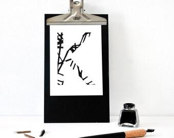 Buchstabe K, Postkarte, schwarz weiß, Illustration, Zeichnung, Geschenk, Deko, Dekoration, Grußkarte, Papier, Karte, Typographie