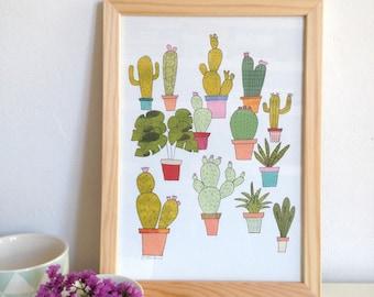 Cactus wall art print, cactus print, succulent print, cactus illustration, cactus plants poster wall decor - size A4 - urban jungle plants