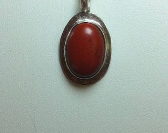 14, Red Jasper Pendant Necklace, Stocking Stuffer, Sterling Silver Pendant, Red Jasper
