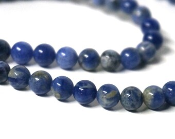 Sodalite beads, 6mm round natural blue gemstone,  FULL and HALF bead strand available  (1038S)