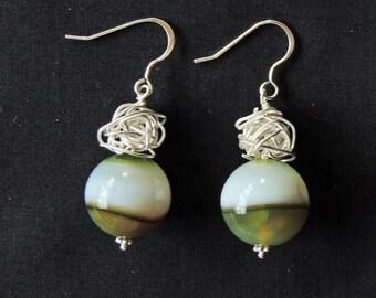 Green agate earrings Silver jewelry