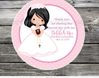 First Communion favor tags, Confirmation, Religious, Set of 12 Personalized Favor Tags, Stickers, Girl Communion Tags, mi primera comunion