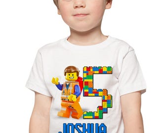 The Lego Movie Birthday Shirt Add Name & Age Lego Custom Birthday Party TShirt 03